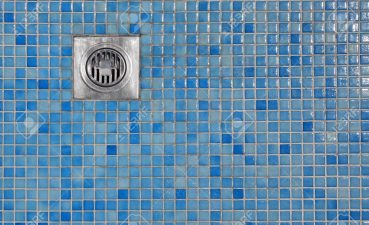 Enchanting Outdoor Shower Cabin Of Poolside Blue Tiled Floor With Grate