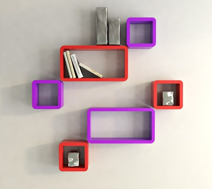 Endearing Red And Purple Home Decor Of Contemporary Wall Shelf Unit