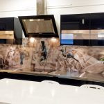 Enthralling Printed Glass Backsplash Of Lg Tui Portrait Sepia Kitchen Splashback