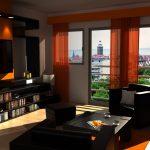 Entrancing Brown And Orange Decor Of Black Living Room