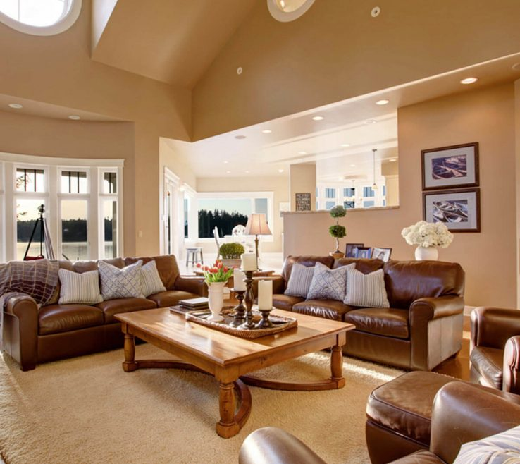 Fortable Home Decor Of Leather Couch And Chairs Living Room