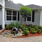Fountain For Front Yard Of Minimalist Garden With Low Growing Flower