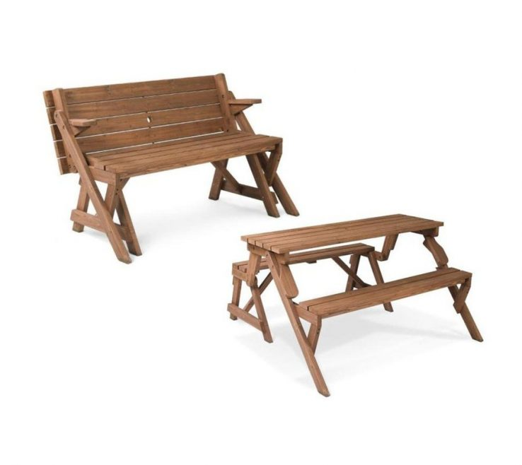 Garden Bench Table Of Leisure Season Ft In Brown Wood Rectangle