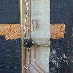 Impressive Outdoor Shower Floor Ideas Of Install Pipes Behind Plywood