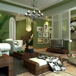 Ing Dark Green Living Room Of Walls Blue Beige And Brown