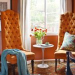 Inspiring Brown And Orange Decor Of Interior Design Decorating With Blue Accent Pillow