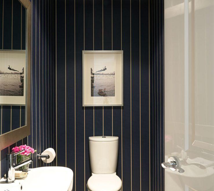 Inspiring Dressing Room Design Of Elegant Bathroom With Vintage Blue And Camel Wallpaper