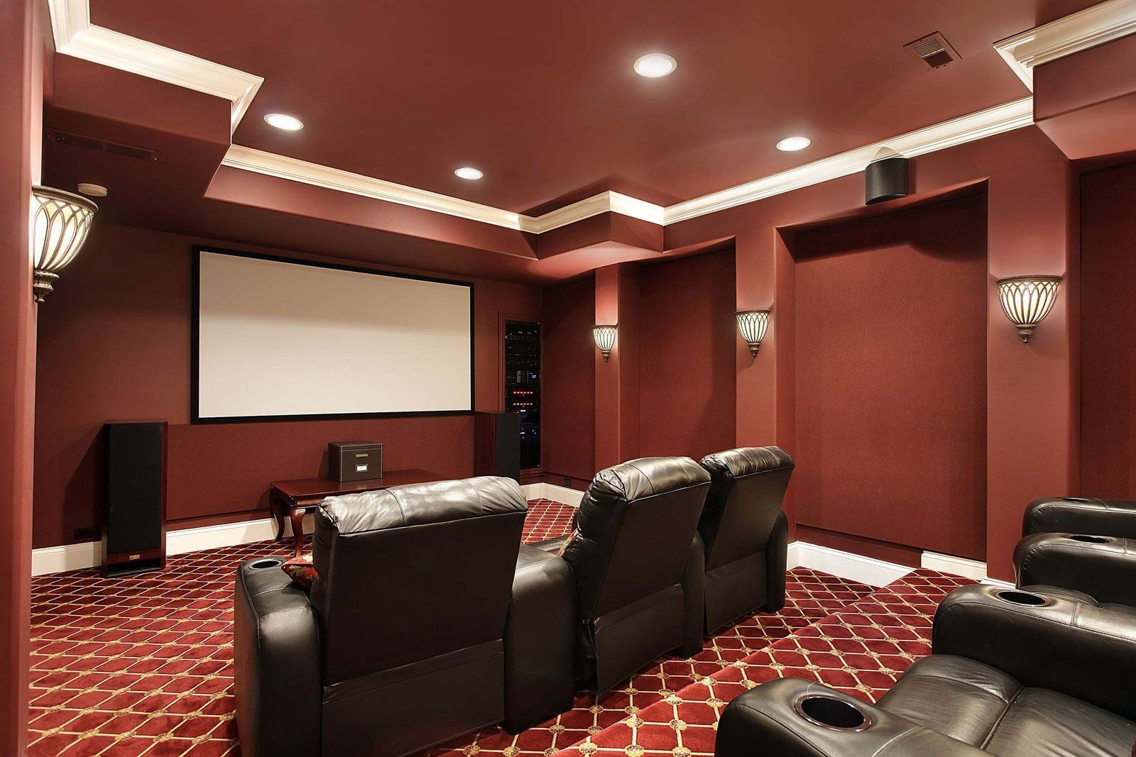 Interior Design For Colors For Media Room Of Home Theater With Earthy Wall And Sconces Acnn Decor