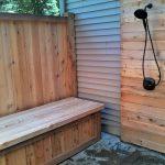 Mesmerizing Outdoor Shower Cabin Of Custom Cedar Enclosure With Bench