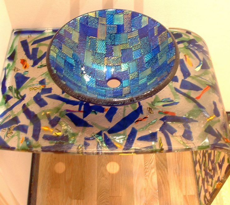 Mosaic Sinks Of Picture Of Grey Blue Vessel Sink