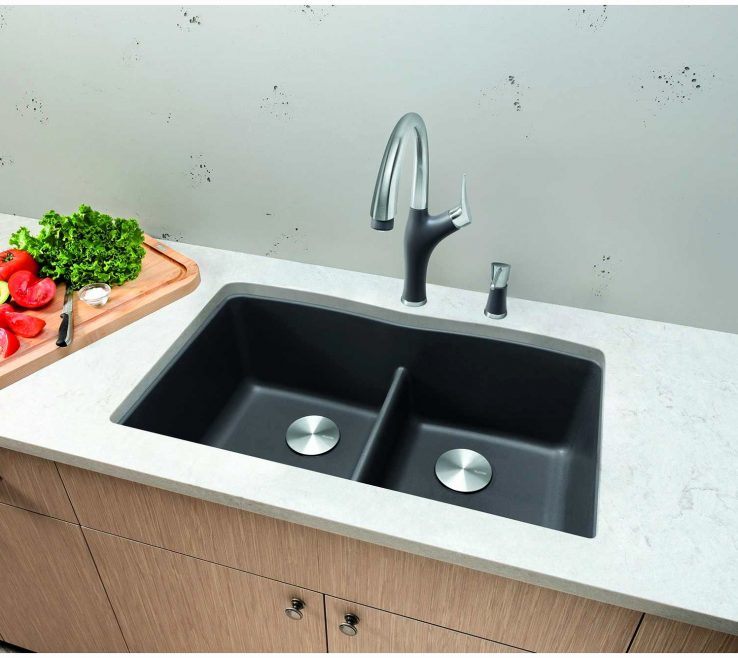 Odd Shaped Kitchen Sinks Of Awesome Blanco Metallic Gray Sink Graphics