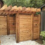 Outdoor Shower Cabin Of Horizontal Cedar Enclosure