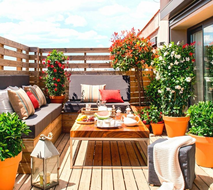 Picturesque Balcony Ideas Of Patio Ideas Color Built In Benches