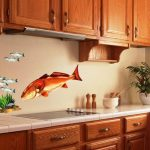 Remarkable Vintage Kitchen Decals Of Fish With Simple Knobs And Elegant Colors