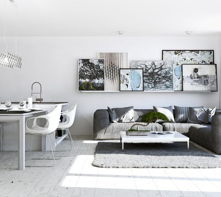 Superbealing Dividers For Living Room Of A White Interior In A Studio Apartment