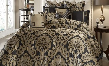 Terrific Classy Bedding Of Black Forter With Classic Gold Toned