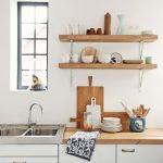 Terrific Wall Mounted Kitchen Shelf Of Simple Unstained Oak Wood Floating Shelves