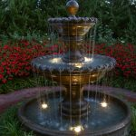 Unique Fountain For Front Yard Of Kansas City Garden With Lights