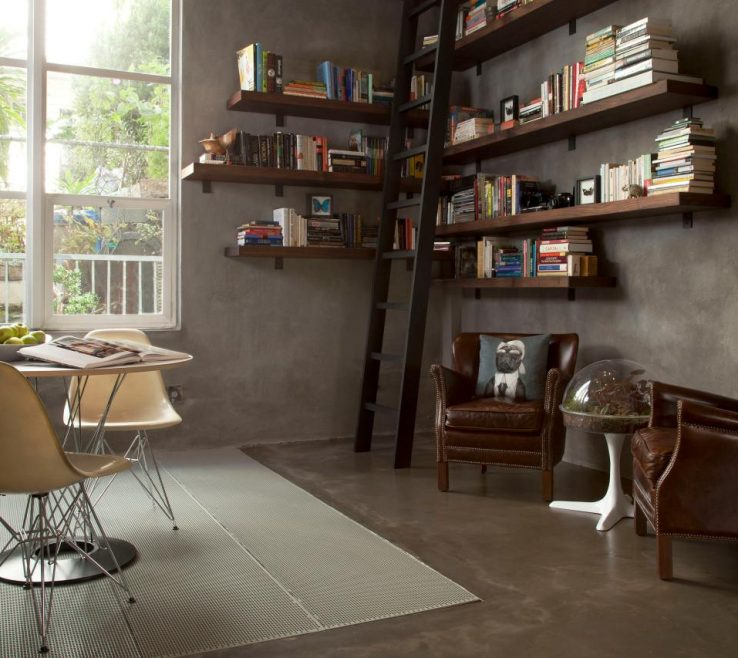 Vanity Bookshelves Library Style Of Custom With Floating Shelves And Seating Area