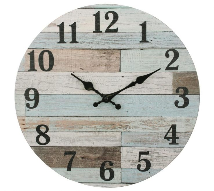 Wooden Wall Clock Designs Of Stonebriar Collection Coastal Worn Blue And White