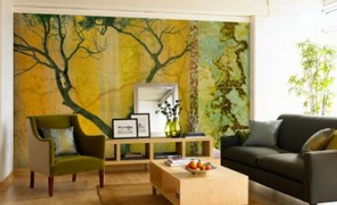 Photo Of Decoration With Design Of Living Room Wallpaper For Walls